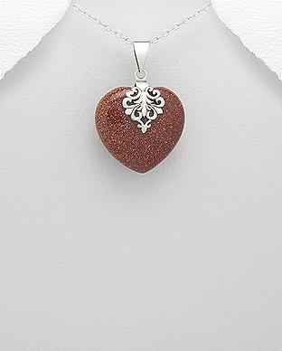 Pandantiv argint inima cu piatra soarelui 1P-229 - bijuterii argint 0
