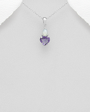 Pandantiv inima din argint cu ametist si opal alb 1P-266 0