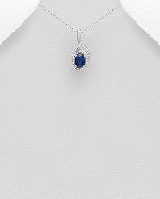 Pandantiv cu safir albastru si cubic zirconia din argint 1P-260 0