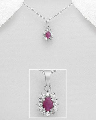 Pandantiv din argint cu rubin si zirconia 1P-273 0