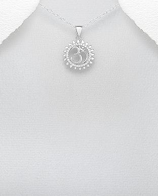 Pandantiv simbol hindus OM AUM si soare din argint 1P-417 [0]