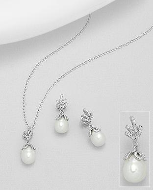 Set argint cercei si pandantiv cu perla de cultura si zirconiu - Elmio.ro 0
