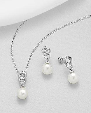 Set din argint cercei si pandantiv -perle de cultura - Elmio.ro 0