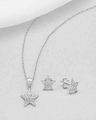 Set din argint stelute - cubic zirconia 1S-115 - bijuterii argint 0