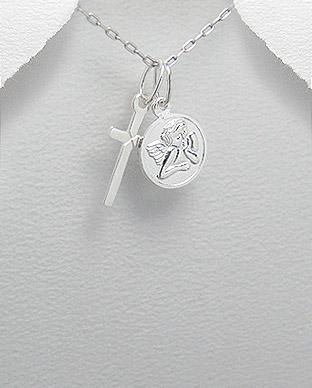 Cruciulita si medalion cu ingeras din argint 1P-300 [0]