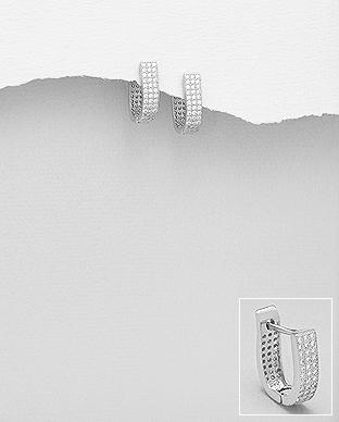 Cercei din argint cu zirconiu transparent 1C-70