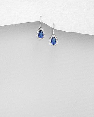 Cercei argint mici cubic zirconia albastru 1C-60B