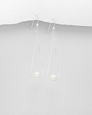 Cercei lungi din argint cu perla alba de cultura 1C-7