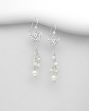 Cercei din argint cu fluturas si perle de cultura 1C-405