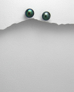 Cercei cu perla neagra de cultura 7 mm 1C-402N