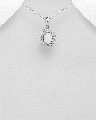 Pandantiv cu opal si tanzanit din argint 1P-368