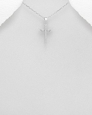 Pandantiv cruce si aripi de inger din argint 1P-97