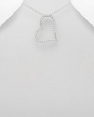 Pandantiv inima din argint cu pietricele zirconiu 1P-86