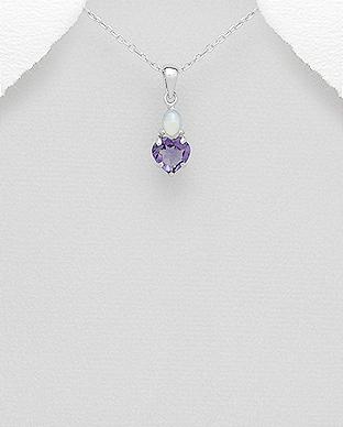 Pandantiv inima din argint cu ametist si opal alb 1P-266