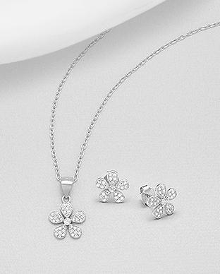 Set din argint 925 floare - cubic zirconia 1S-114