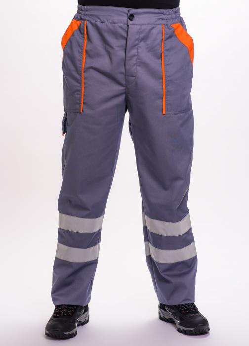 Pantalon talie TECHNO de lucru, cu benzi reflectorizante [0]