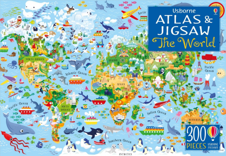 Usborne Atlas and Jigsaw The World [0]