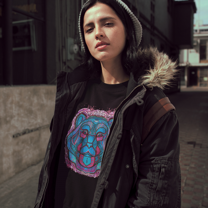 Psychedelic Blue Bear- tricou unisex [6]
