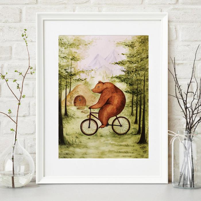 Tablou Ursul pe bicicleta 0