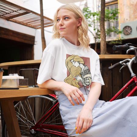 Tricou dama, relaxed fit, Romancuta Vrancea0