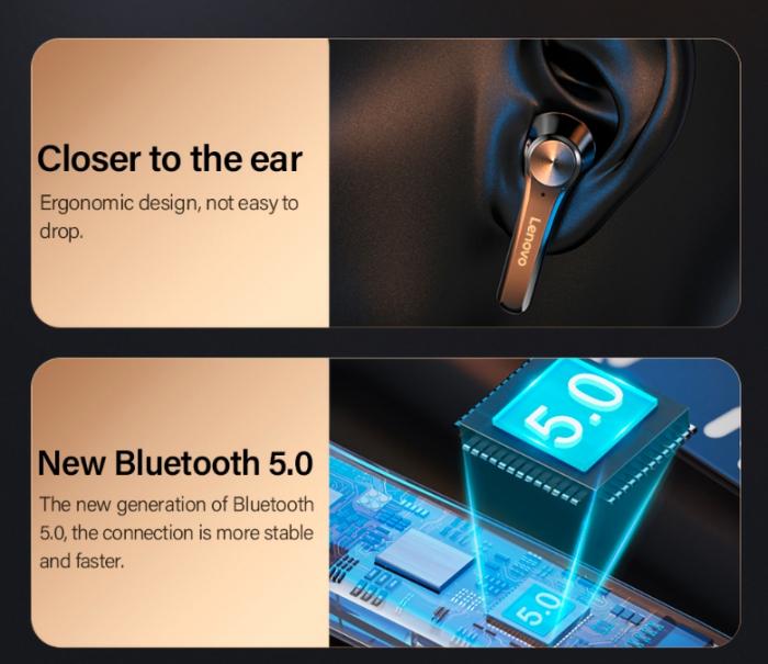 Casti LENOVO  wireless bluetooth 5.0 1