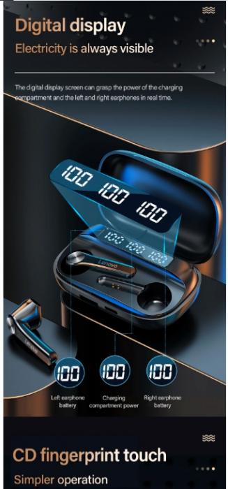 Casti LENOVO  wireless bluetooth 5.0 3