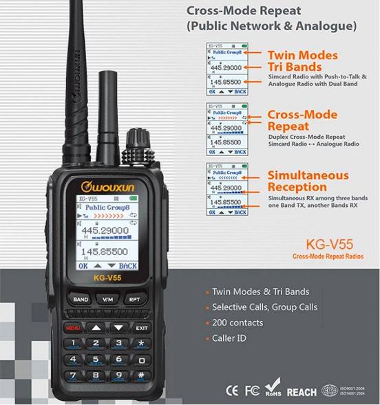 Statie  radio WOUXUN KG-V55, REPETOR cross band UHF-VHF si SIM Card [0]