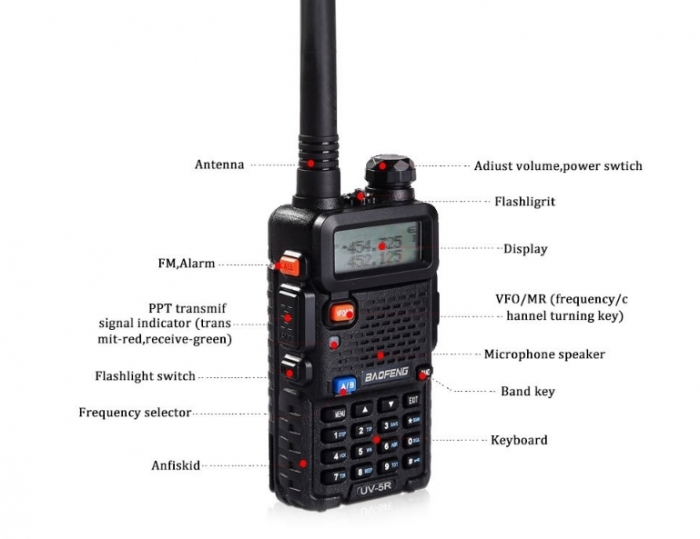 Set 5 statii radio Baofeng UV-5R Dual Band Tranciever + Bonus Casti cu microfon incluse 1