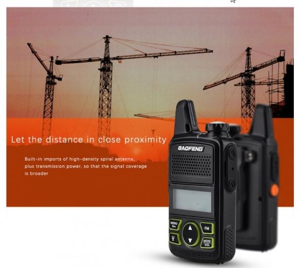 Statie radio Mini Walkie Talkie BF-T1, 20 canale UHF, radio FM  63 MHz - 108 MHZ 2