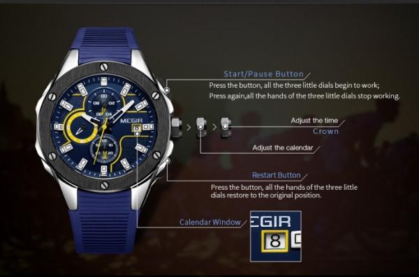 Ceas Megir  8135 - Sport | Cronograf | Albastru | Curea Silicon | [2]