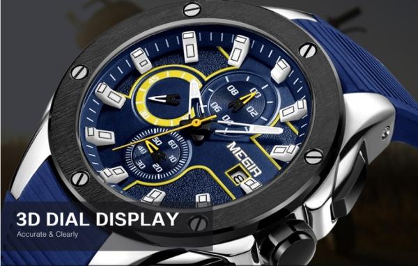 Ceas Megir  8135 - Sport | Cronograf | Albastru | Curea Silicon | [3]