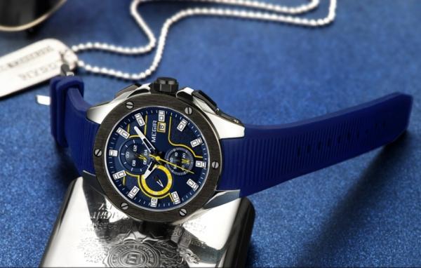 Ceas Megir  8135 - Sport | Cronograf | Albastru | Curea Silicon | [4]
