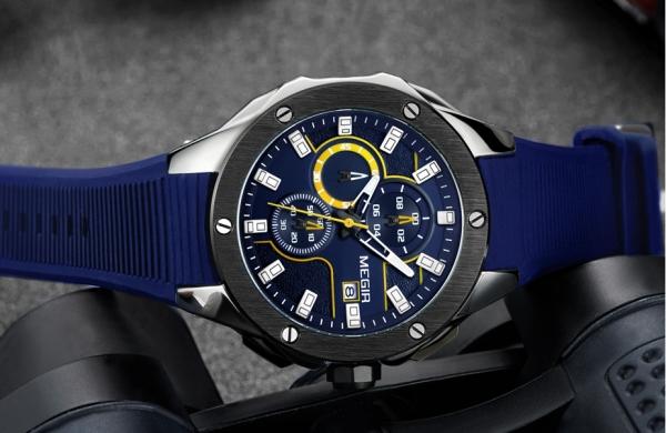 Ceas Megir  8135 - Sport | Cronograf | Albastru | Curea Silicon | [5]