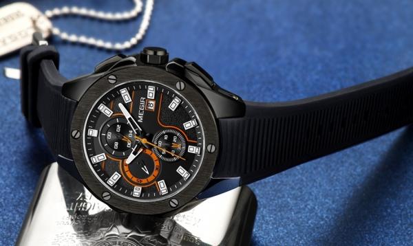 Ceas Megir 8135 - Sport | Cronograf | Negru - portocaliu  | Curea Silicon | 0