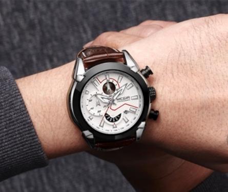 Ceas Megir 2045 - | Fashion | Sport | Cronograf | Alb | Curea piele | 2