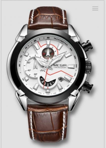 Ceas Megir 2045 - | Fashion | Sport | Cronograf | Alb | Curea piele | 1