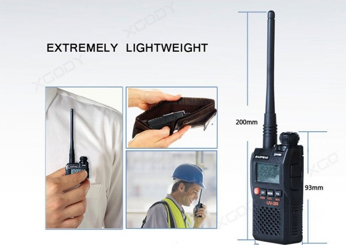 Statie radio Baofeng UV-3R mini Walkie Talkie , FM tranciever, 99 CH, dual band VHF, UHF radio FM 1
