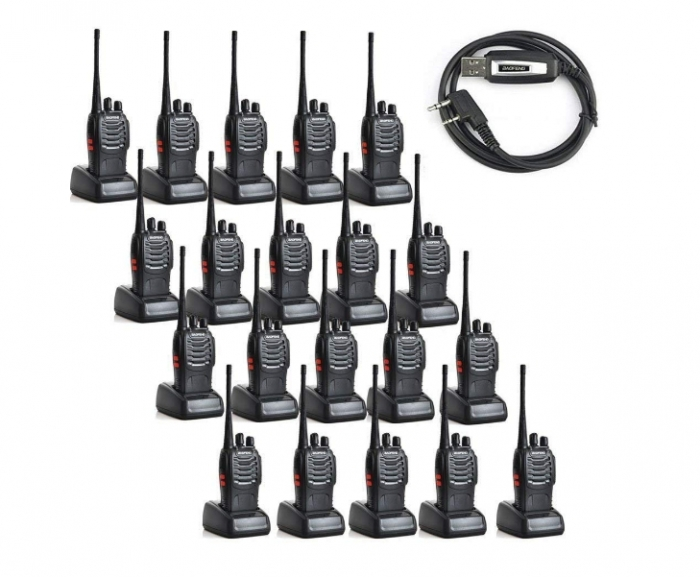 Set 20 buc Statii Radio Walkie Talkie Baofeng BF-888S UHF 400-470MHz 16CH  PROGRAMABILE + Bonus Cablu si CD programare 0