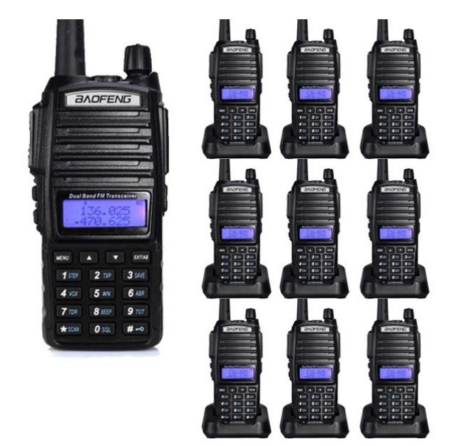 Set 10 statii UV- 82 walkie talkie transiever, 5 W, dual band VHF, UHF, 2800 mAH , radio FM, BONUS cablu programare + CD 0