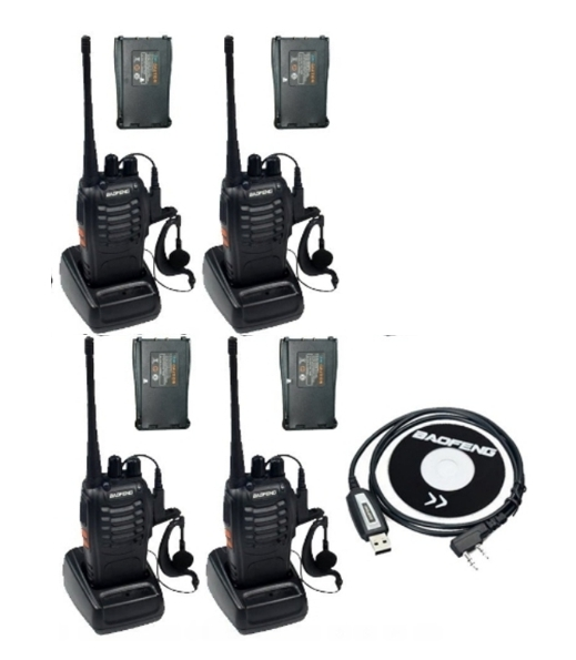 Set 4 buc Baofeng BF-888S cu 8 acumulatori 1500 mAh + Bonus Cablu+CD programare 0