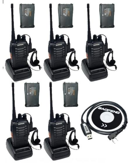 Set 5 buc Baofeng BF-888S cu 10 acumulatori 1500 mAh + Bonus Cablu+CD programare 0