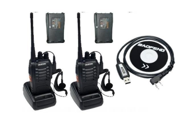 Set 2 buc Baofeng BF-888S cu 4 acumulatori 1500 mAh + Bonus Cablu+CD programare 0