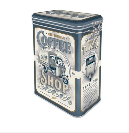 Cutie Metalica capac etans Ape - Coffee Shop 7.5X11x17.5 cm 0
