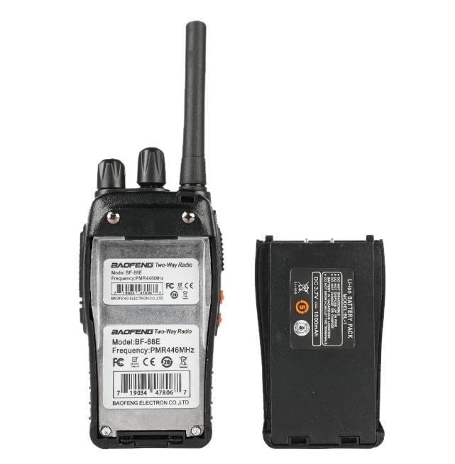 Set 2 statii radio BF-88E , 16 canale PMR 446 ,  antena fixa,  0.5 W 2