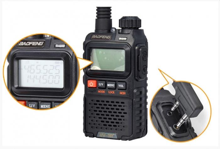 Statie radio Baofeng UV-3R+, Dual Band UHF, VHF, Walkie Talkie , FM tranciever, 99 CH, radio FM 88 - 108 MHz 0