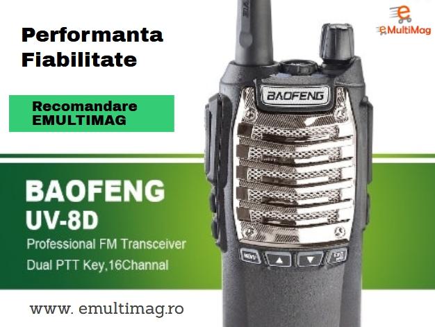 Statie Radio Walkie Talkie Baofeng UV-8D UHF 400 - 520MHz 16CH PROGRAMABILE 8W, radio UHF 65 - 108 MHz 0