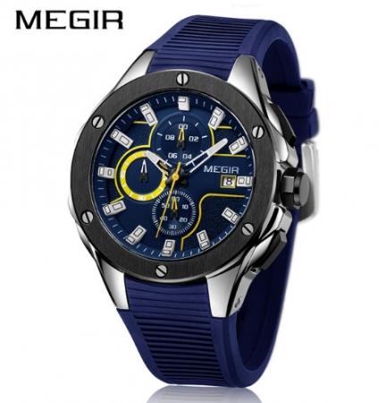 Ceas Megir  8135 - Sport | Cronograf | Albastru | Curea Silicon | [0]