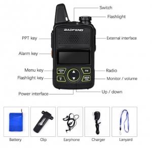 Statie radio Mini Walkie Talkie BF-T1, 20 canale UHF, radio FM  63 MHz - 108 MHZ4