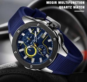 Ceas Megir  8135 - Sport | Cronograf | Albastru | Curea Silicon | [1]