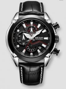 Ceas Megir 2045 - | Fashion | Sport | Cronograf | Negru | Curea piele |0